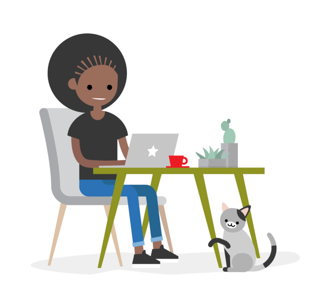 Cartoon image of someone sat at a computer