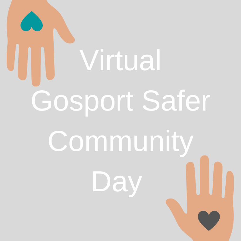 Two hands holding hearts of support for Gosport Safer Community Day